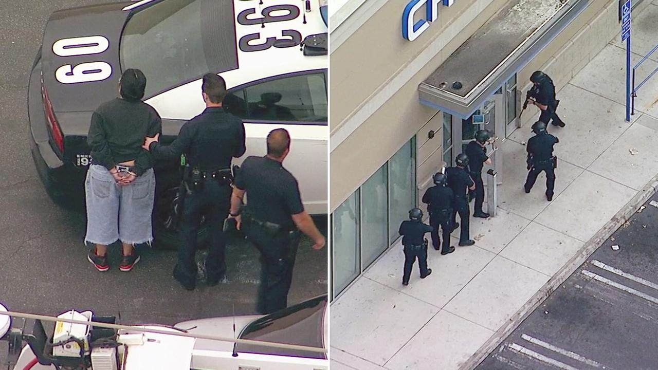 A Chase bank in the 7100 block of Sepulveda Boulevard  in Van Nuys was evacuated after car theft suspects ran into the building on Monday, May 15, 2017, according to police.