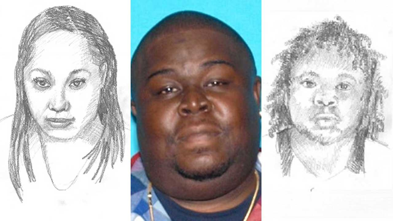 Long Beach police released two sketches (far left and far fight) of persons of interest in the death of Victor Eugene Alford (center), who was fatally shot in May 2016.