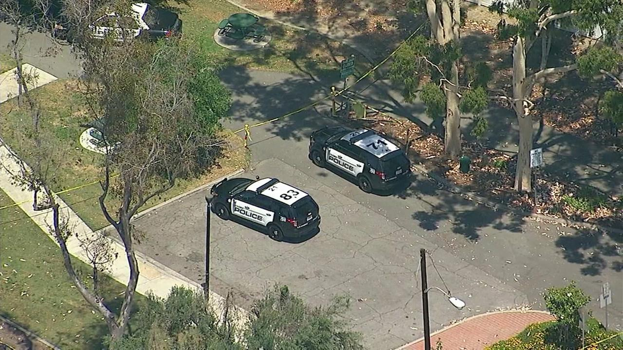 Patrol vehicles at the scene of an officer-involved shooting in La Habra where a juvenile was shot by police on Monday, May 22, 2017.