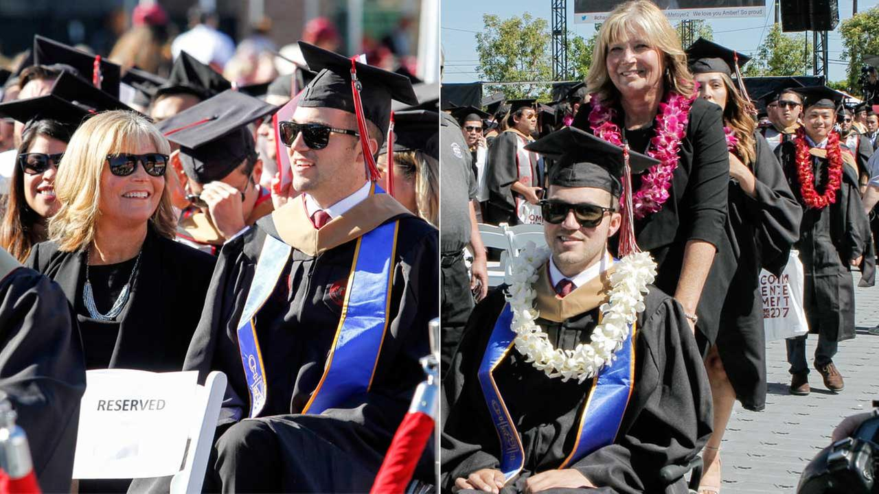 Judy OConnor and her son, MBA graduate Marty OConnor, are seen during commencement at Chapman University in Orange, Calif. on Saturday, May 20, 2017.