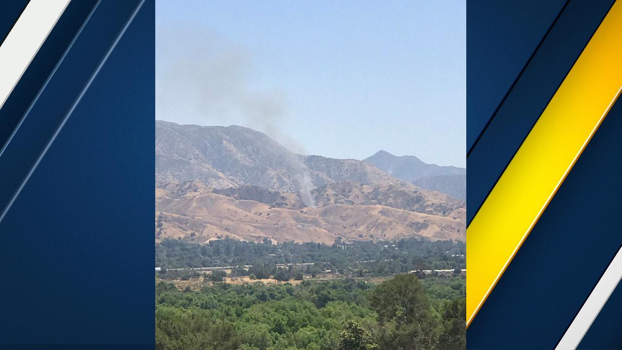 Smoke is seen rising above Sylmars Lopez Canyon as firefighters battled a brush fire on Sunday, May 28, 2017.