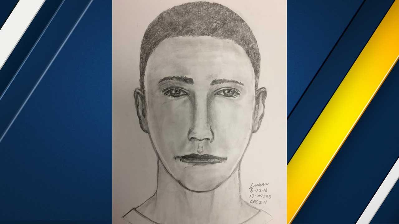 This composite sketch from the Irvine Police Department depicts a suspect wanted in an armed robbery in Irvine on Sunday, May 28, 2017.