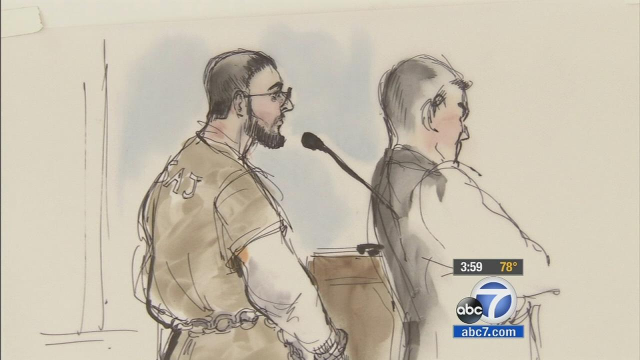 Adam Dandach, also known as Fadi Fadi Dandach, appears in a Santa Ana courthouse on Monday, July 21, 2014, in this sketch by Mona S. Edwards.