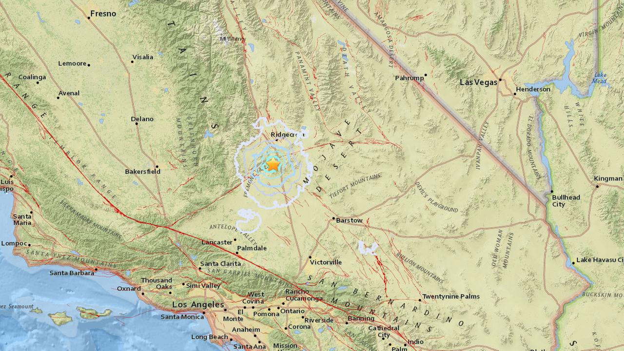 An image from USGS shows the epicenter of a 3.5-magnitude earthquake that struck 15 miles southwest of Ridgecrest.