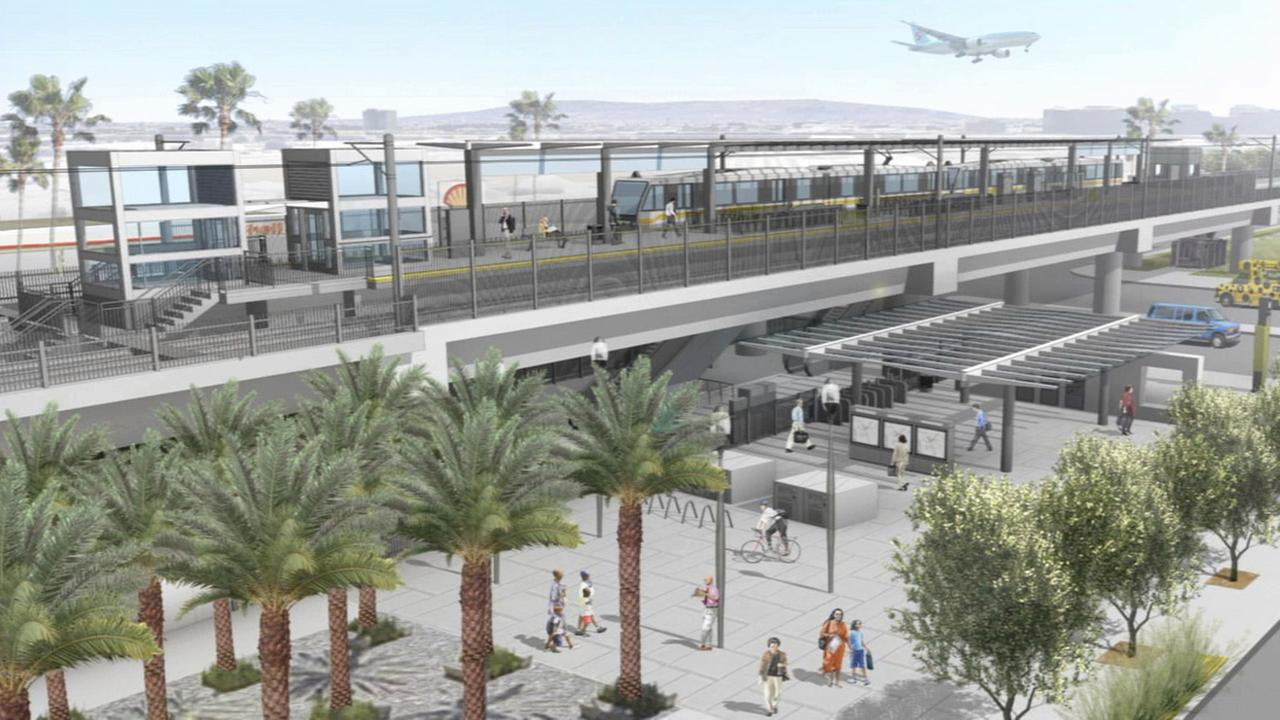This illustration shows a light rail station planned for the new Crenshaw/LAX transit corridor.