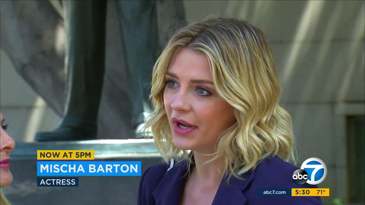 Actress Mischa Barton speaks outside a Los Angeles courthouse about the settlement of a revenge porn case involving her ex-boyfriend on Monday, June 5, 2017.