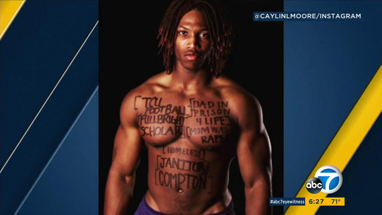 Caylin Moore, who has earned a Rhodes Scholarship, once wrote his life story on his body as part of a school project.