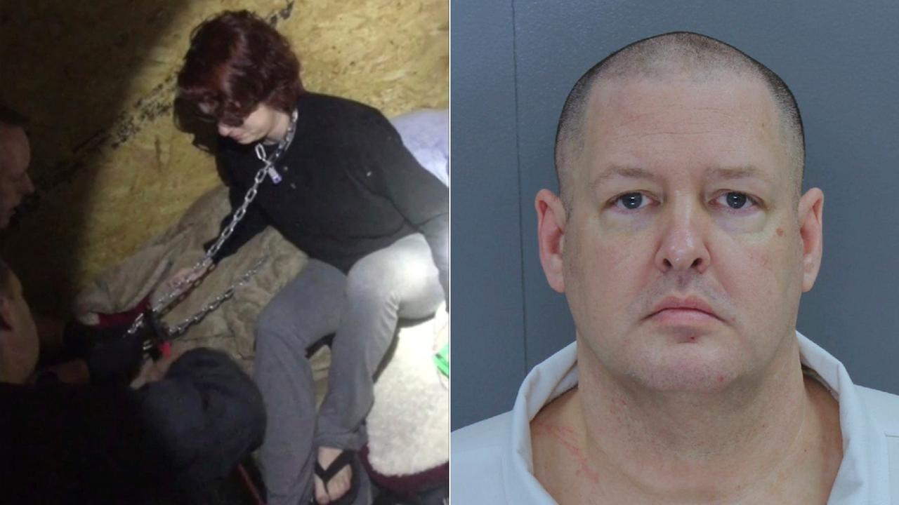 Kala Brown is rescued Nov. 3, 2016, by South Carolina authorities after she was chained inside a metal container for about two months by confessed serial killer Todd Kohlhepp.