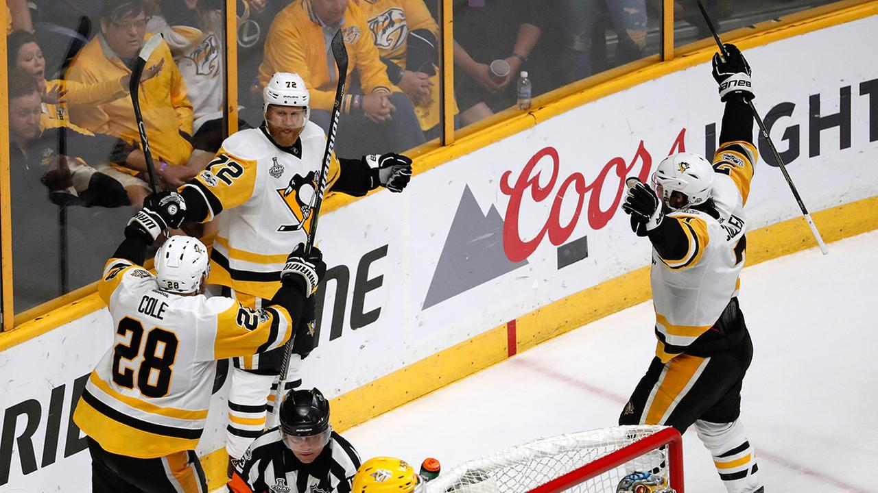 Pittsburgh Penguins during the third period of Game 6 of the NHL hockey Stanley Cup Final, Sunday, June 11, 2017, in Nashville, Tenn.