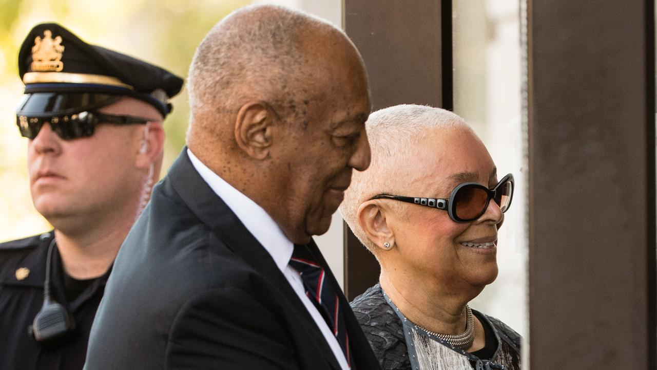 Bill Cosby arrives for his sexual assault trial with his wife Camille Cosby at the Montgomery County Courthouse in Norristown, Pa., Monday, June 12, 2017.