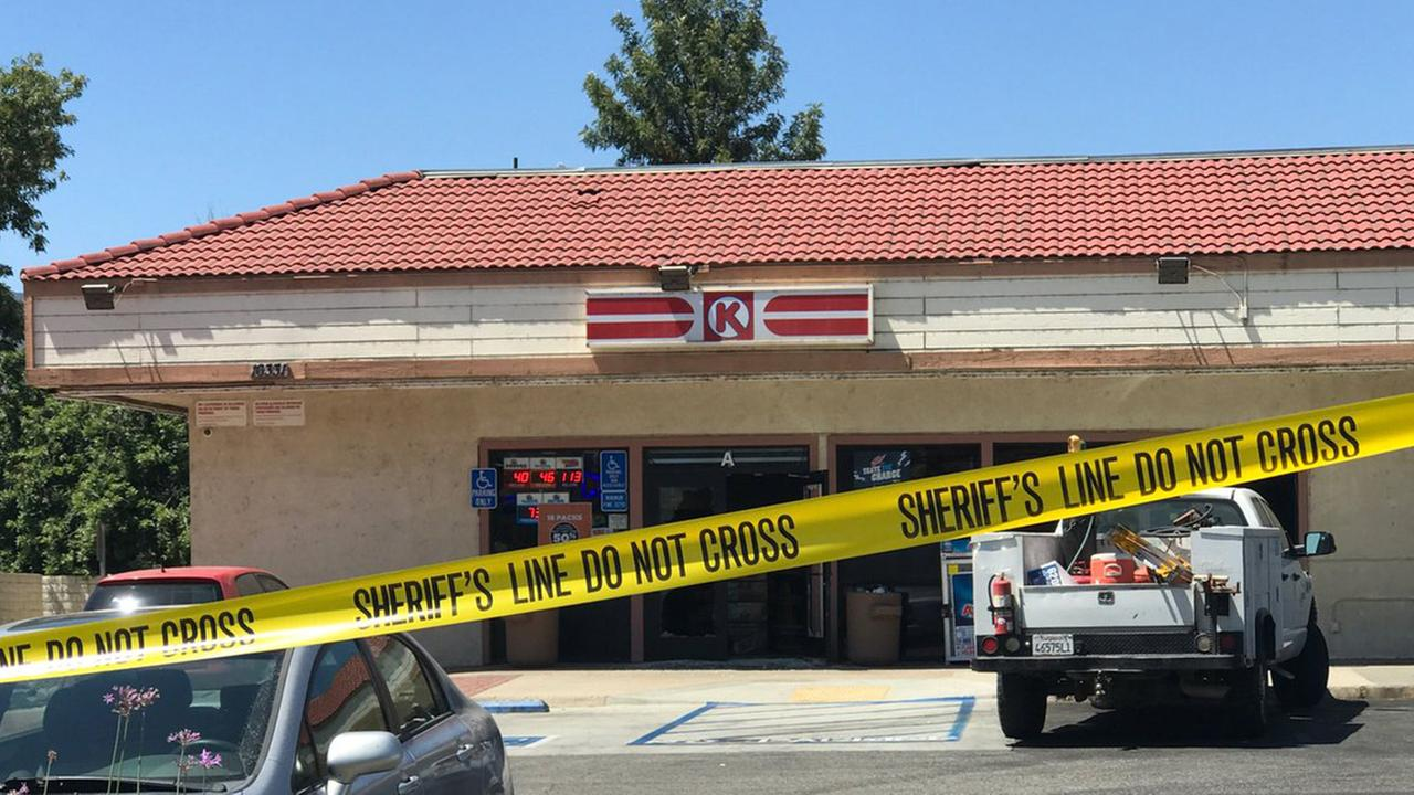 Crime-scene tape is seen in front of a Circle K store in Lake Elsinore after a shooting on Wednesday, June 14, 2017.