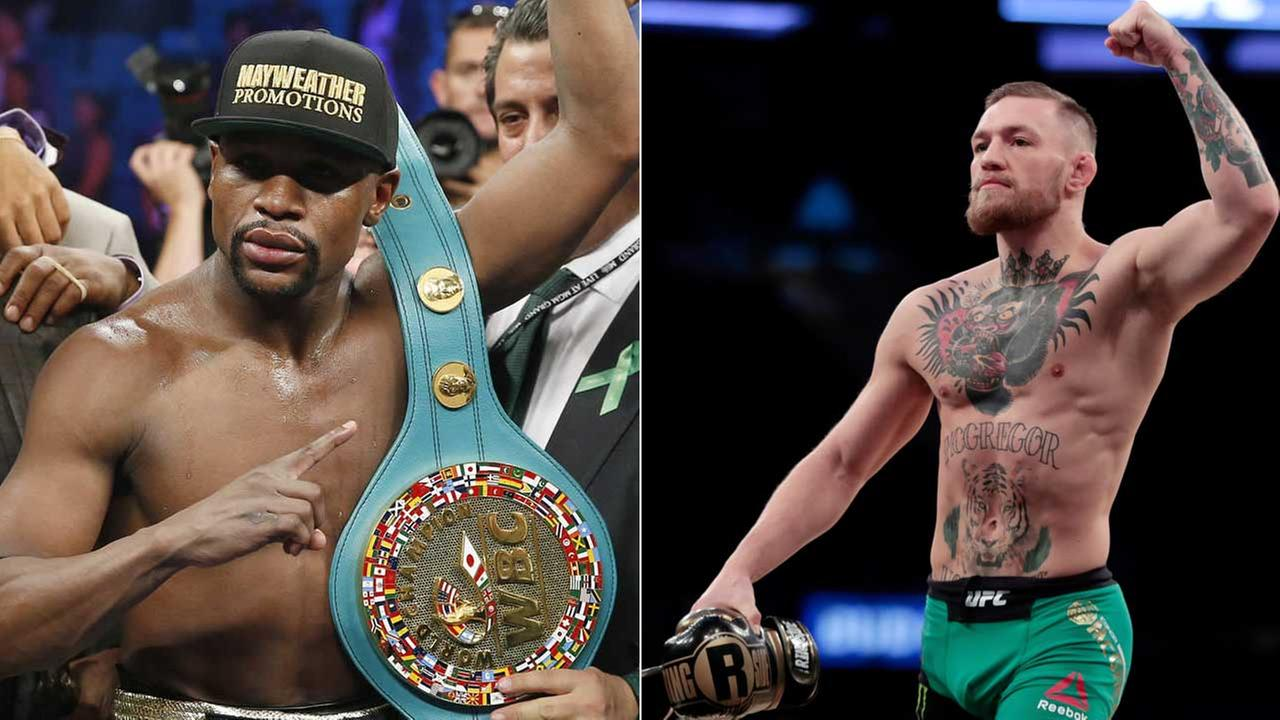 Boxer Floyd Mayweather and UFC star Conor McGregor are seen in undated photos.