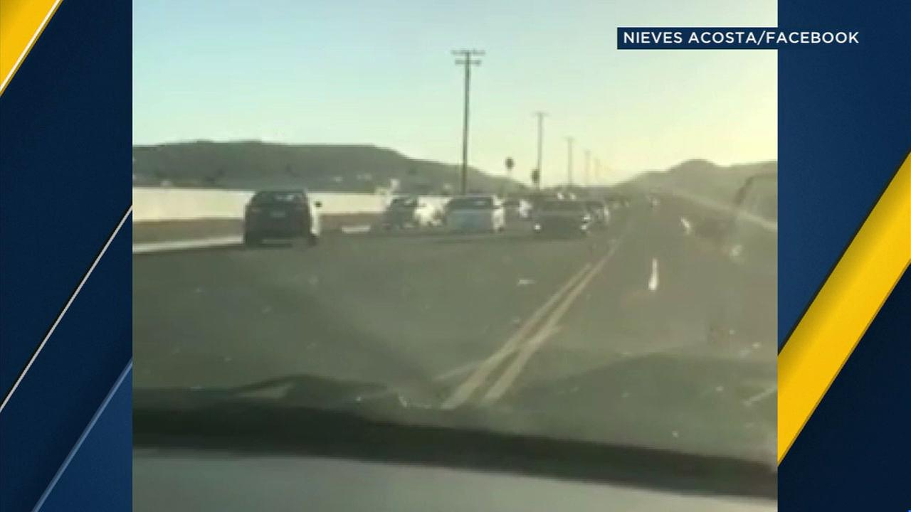 Cellphone video shows a wrong-way driver wandering across all lanes on Highway 74 in Hemet on Tuesday, June 13, 2017.
