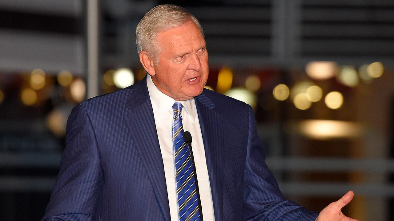 NBA executive and former player Jerry West speaking at Staples Center in March 2015.
