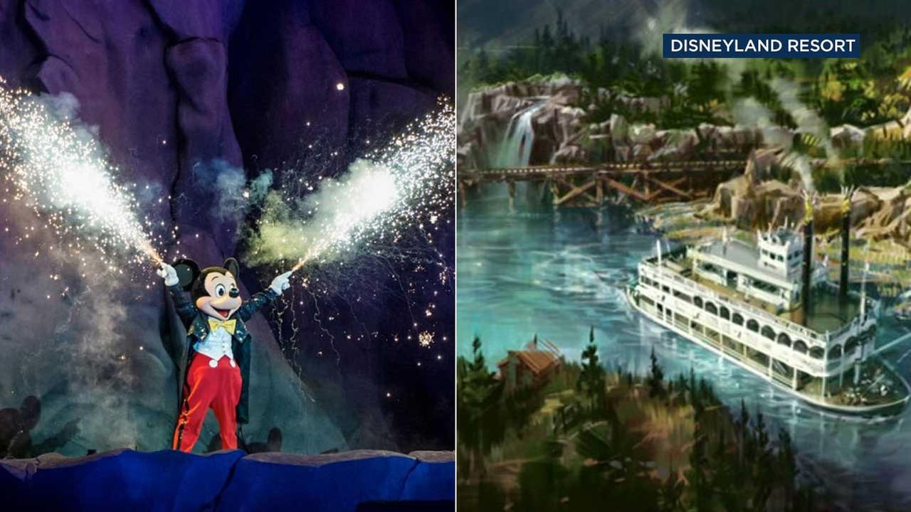 (Right) Mickey is seen during the Disneyland show Fantasmic. (Left) Artist rendering of Rivers of America after the opening of the Star Wars-themed land. (Disneyland Resort)