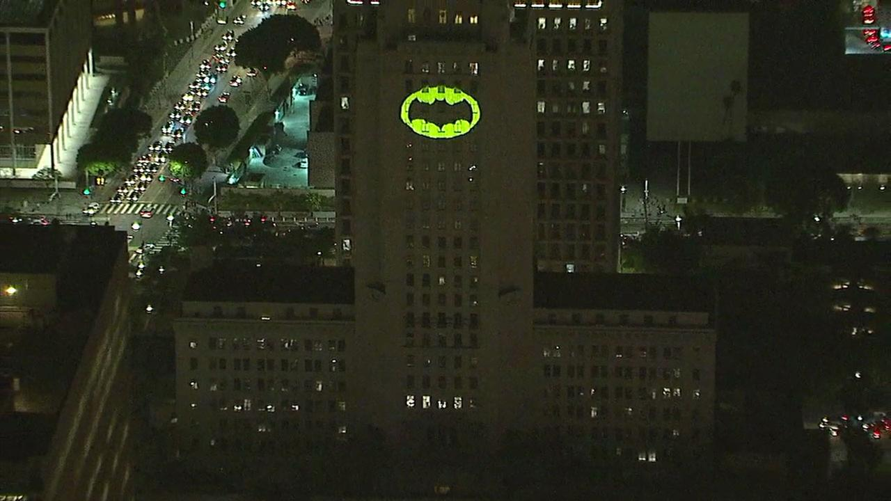 The Bat-signal lit up City Hall in downtown Los Angeles in a tribute to late actor Adam West.
