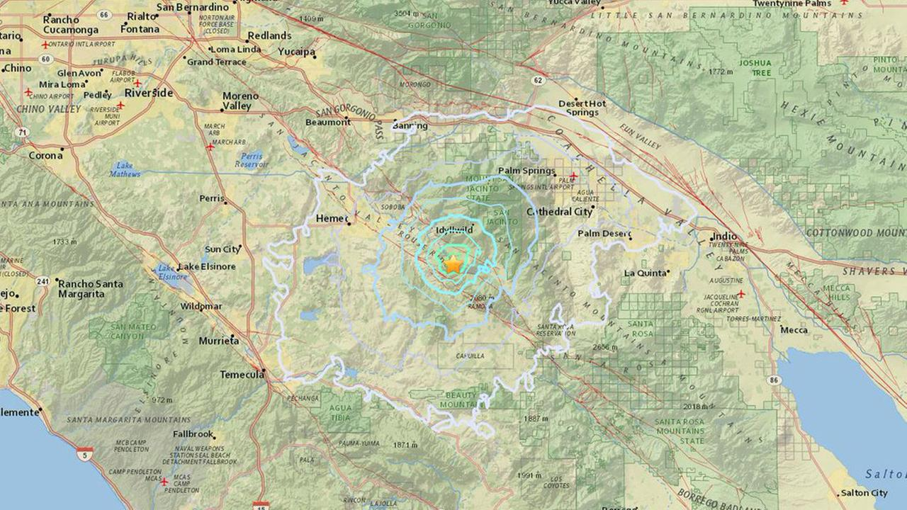 A map shows the epicenter of a magnitude 3.5 earthquake that struck near Idyllwild on Sunday, June 18, 2017.