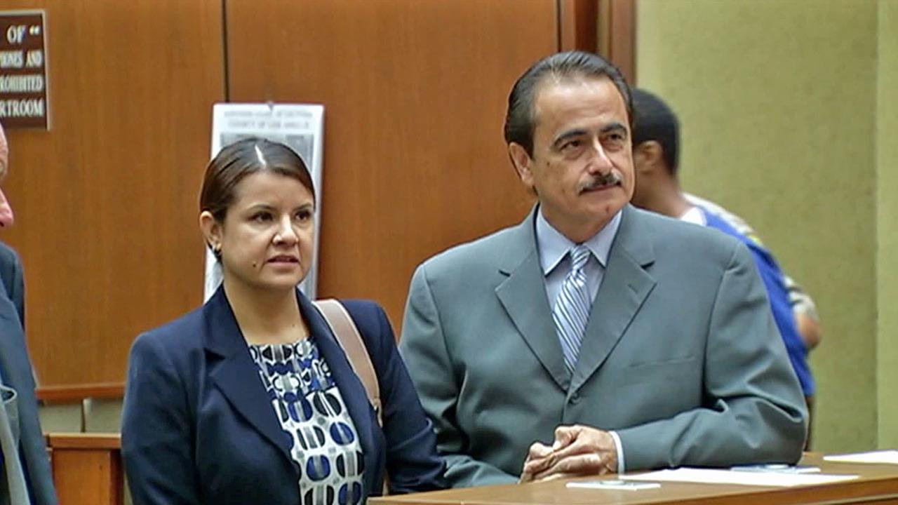 Los Angeles City Councilman Richard Alarcon and his wife are seen in court in this photo taken Thursday, Oct. 18, 2012.