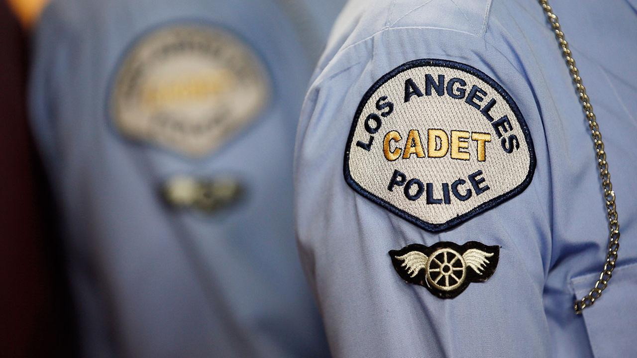 A cadet patch is seen on a uniform during an LAPD Cadet Program Graduation.