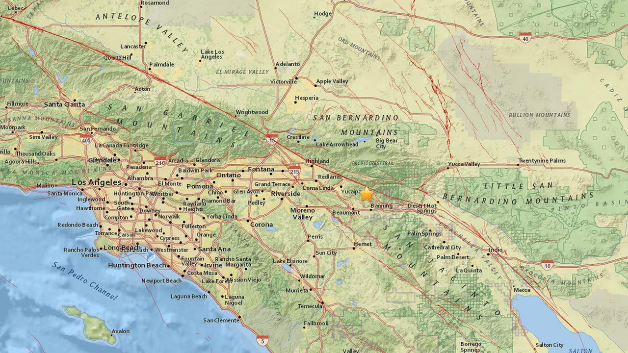 A map shows the epicenter of a magnitude 3.5 earthquake that struck near Banning on Sunday, June 25, 2017.