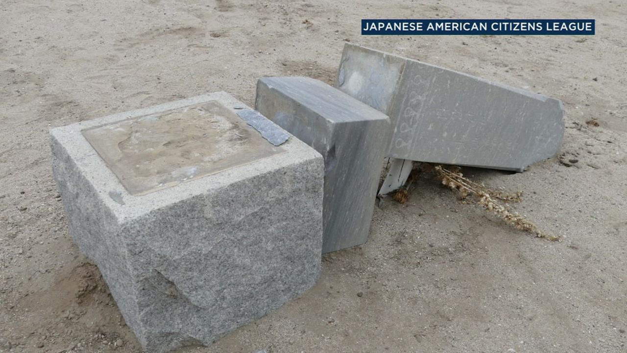 A broken headstone is shown after a man is suspected of vandalizing the Historic Japanese Cemetery in Oxnard on June 19, 2017.