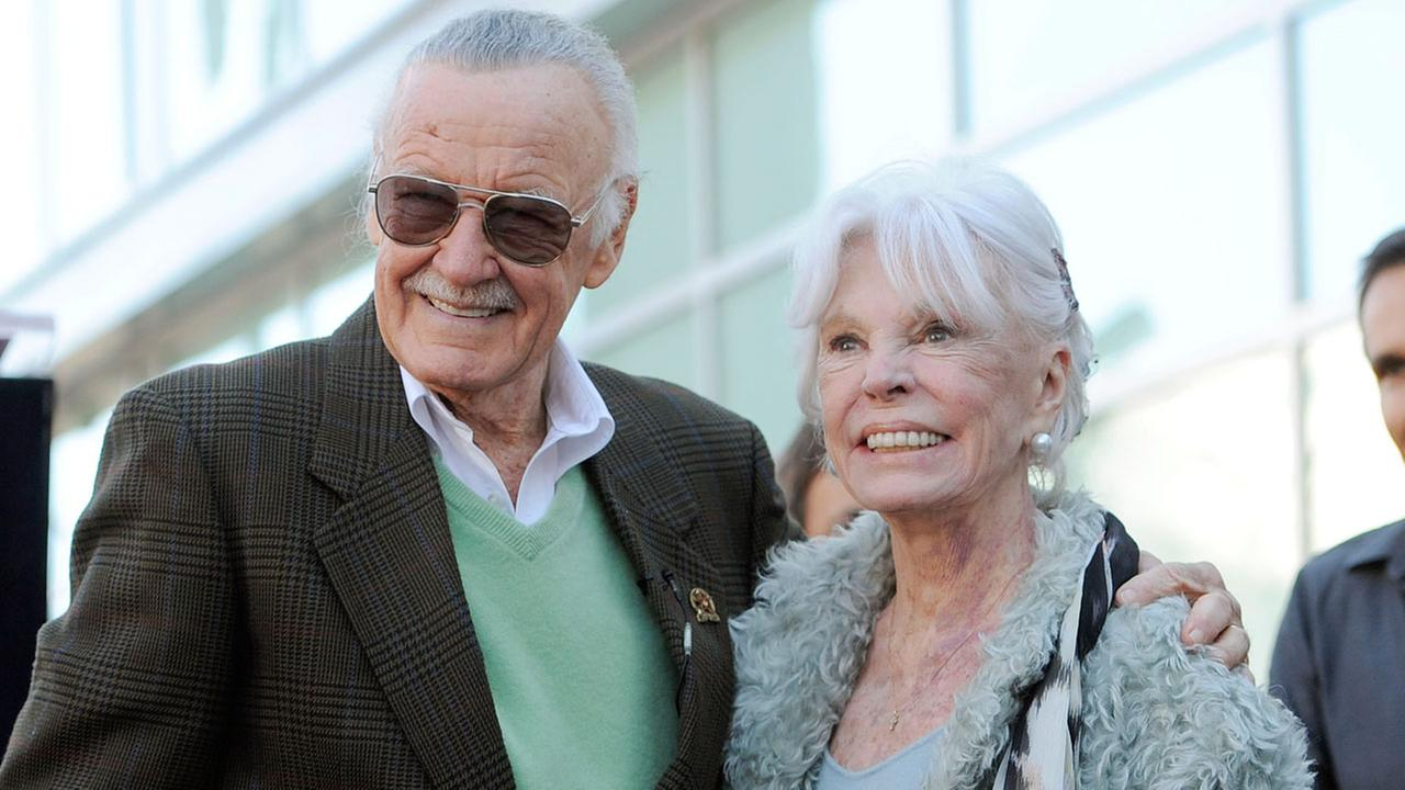 Comic book creator Stan Lee poses with his wife Joan after he received a star on the Hollywood Walk of Fame in Los Angeles, Tuesday, Jan. 4, 2011.