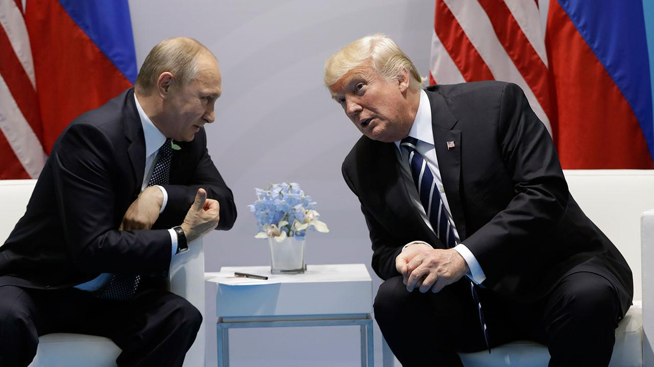 President Donald Trump meets with Russian President Vladimir Putin at the G20 Summit, Friday, July 7, 2017, in Hamburg.