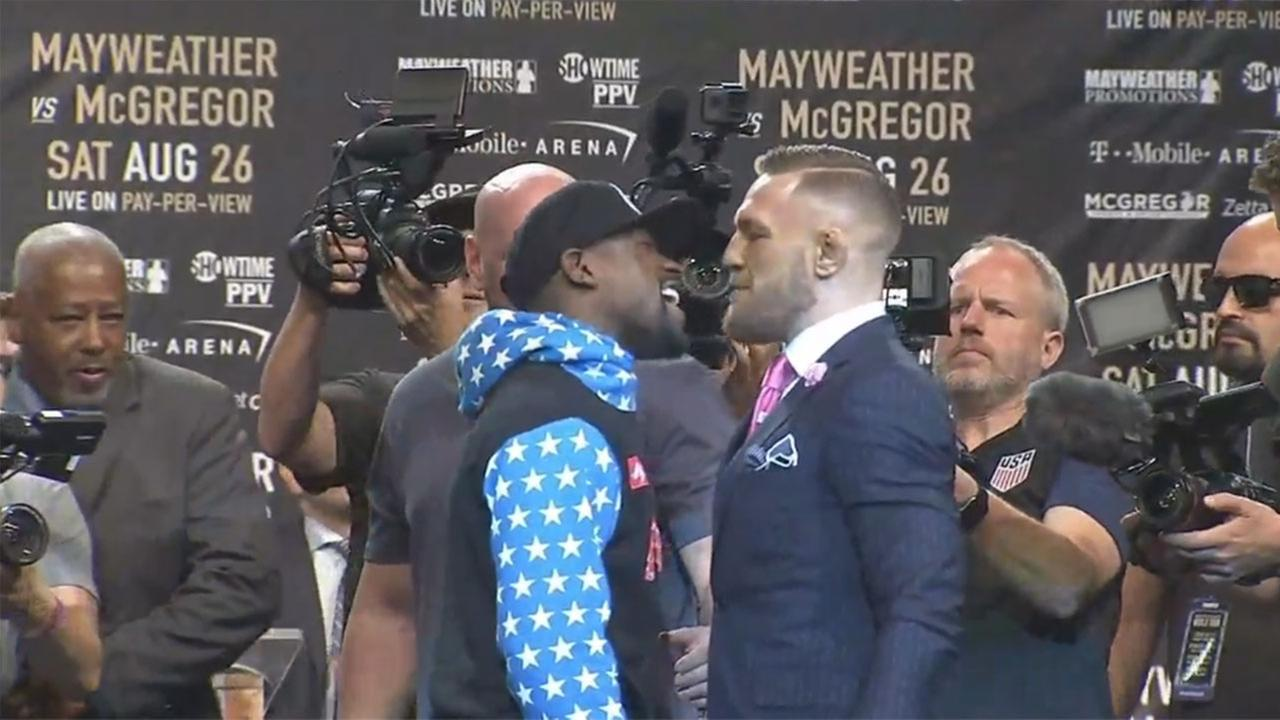 Boxer Floyd Mayweather Jr. and UCF star Conor McGregor appeared at Staples Center in Los Angeles on Tuesday, July 11, 2017 to promote their Aug. 26 fight in Las Vegas.