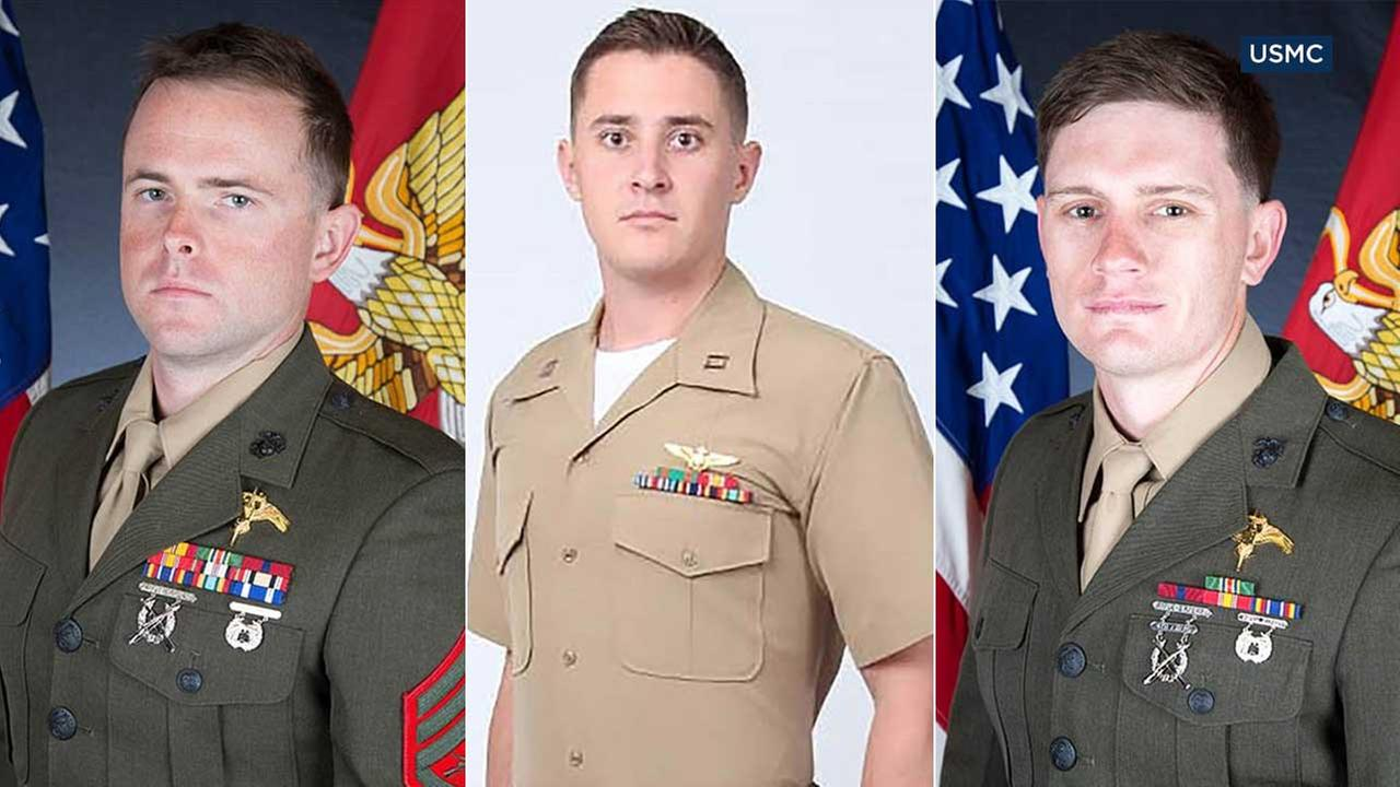 Staff Sgt. Robert H. Cox, 28, Capt. Sean E. Elliott, 30, and Sgt. Chad Jenson, 25, are seen in photos from the U.S. Marine Corps.