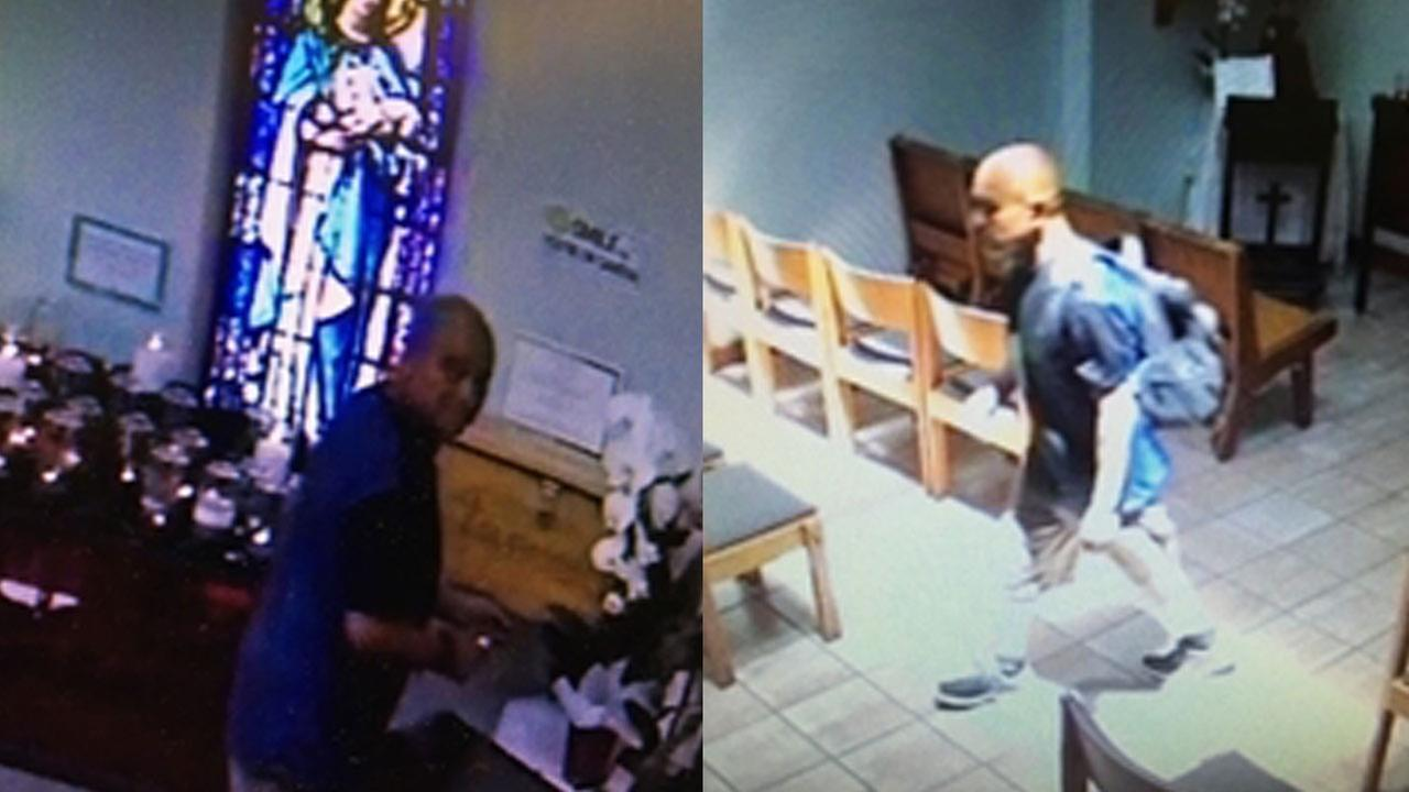 Bell Gardens police released two pictures of a man suspected of stealing money from St. Gertrudes Church.