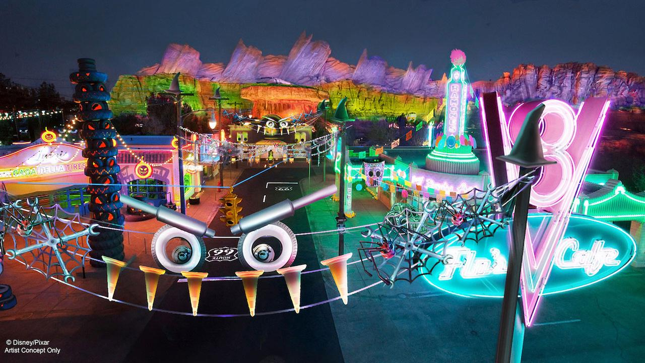 A rendering of the decorations that will cover Cars Land during Halloween Time at Disneys California Adventure park is shown.