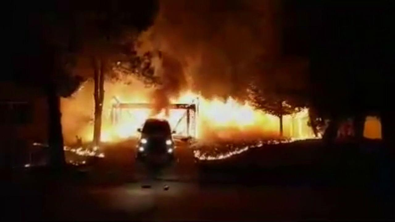 A Wildomar home was engulfed in flames after a honey-oil lab explosion early Wednesday, July 19, 2017.