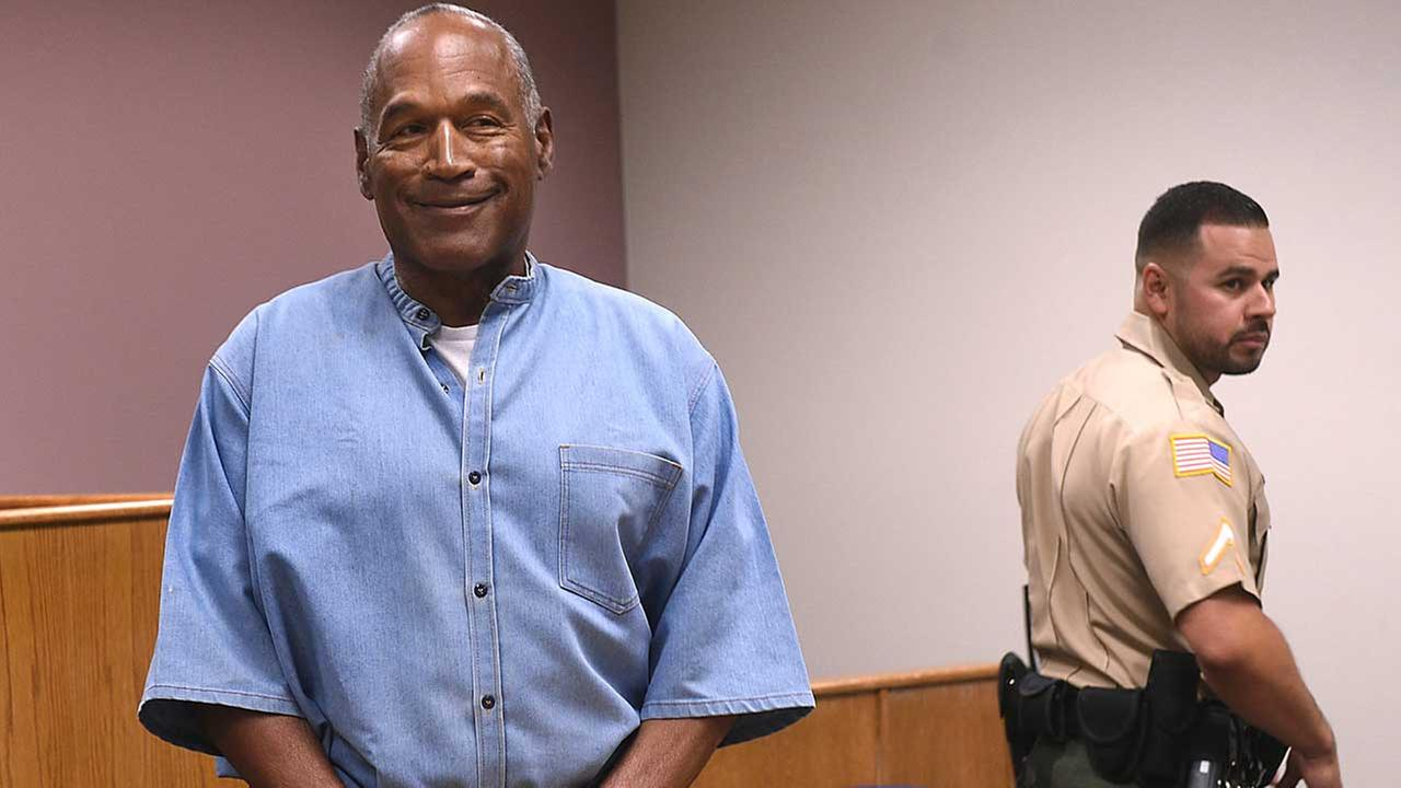 O.J. Simpson enters for his parole hearing at the Lovelock Correctional Center in Lovelock, Nev., on Thursday, July 20, 2017. (Jason Bean/The Reno Gazette-Journal via AP, Pool)