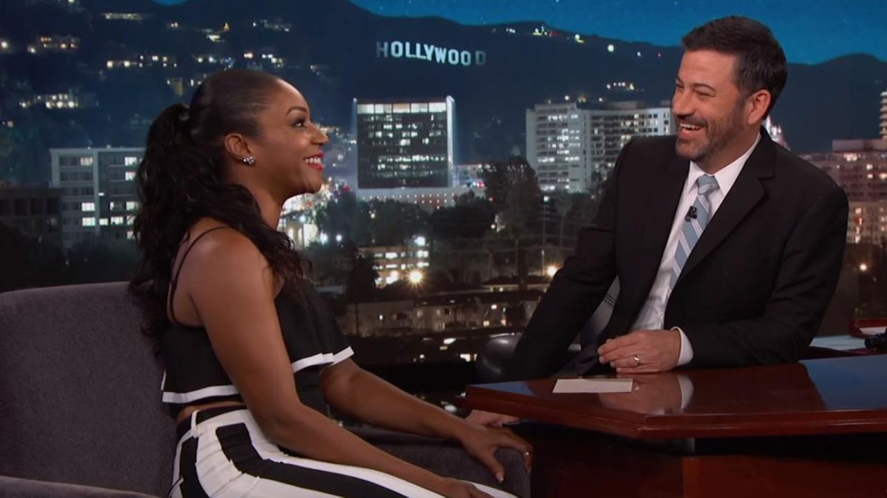 Tiffany Haddish is seen with host Jimmy Kimmel during an appearance on Jimmy Kimmel Live.