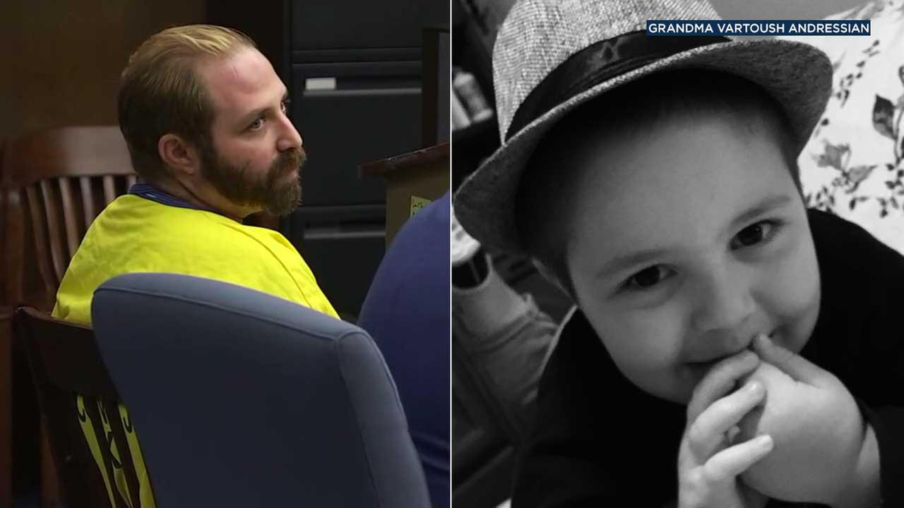 (Left) Aramazd Andressian Sr. is seen in court on Tuesday, Aug. 1, 2017. (Right) Aramazd Andressian Jr. is seen in a photo provided by family.