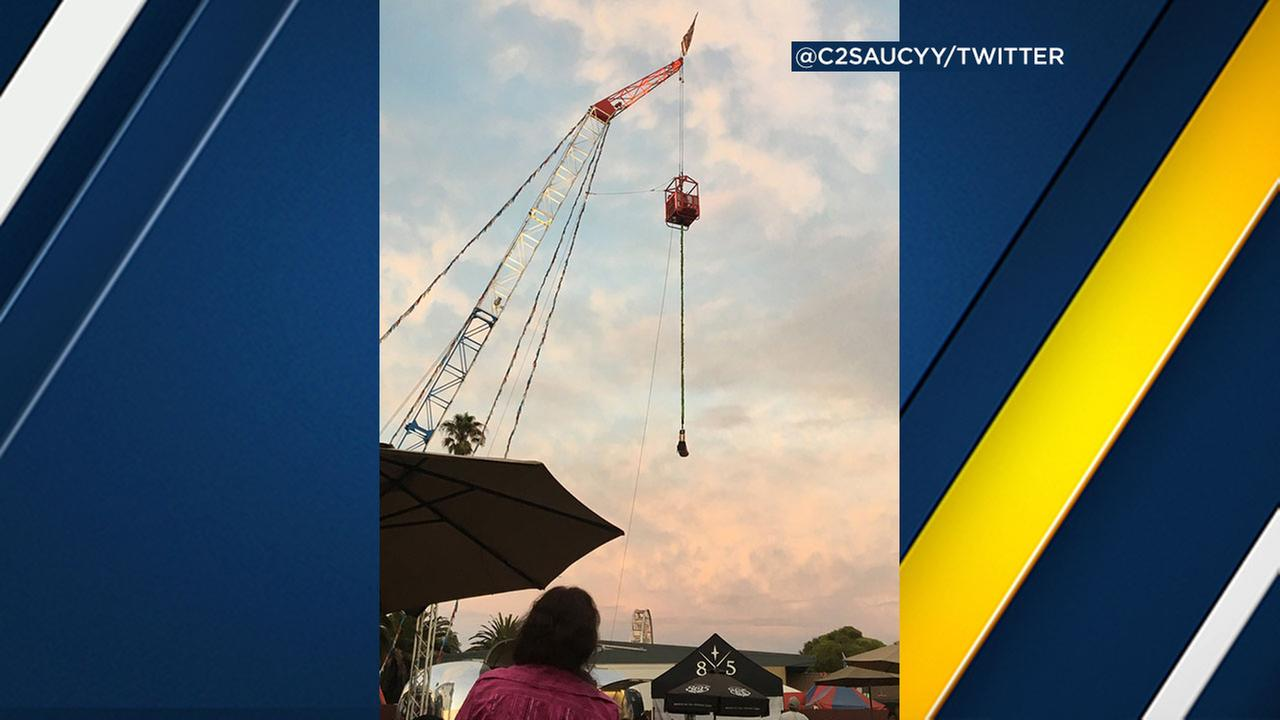 A person was rescued after getting stuck hanging upside down from a ride at the Ventura County Fair.