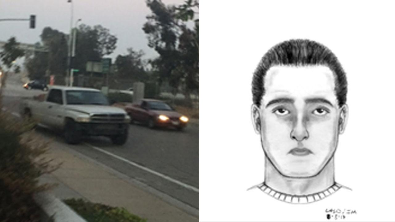 Authorities released an actual photo of the suspects truck and a sketch of what he looks like, according to the victims account.