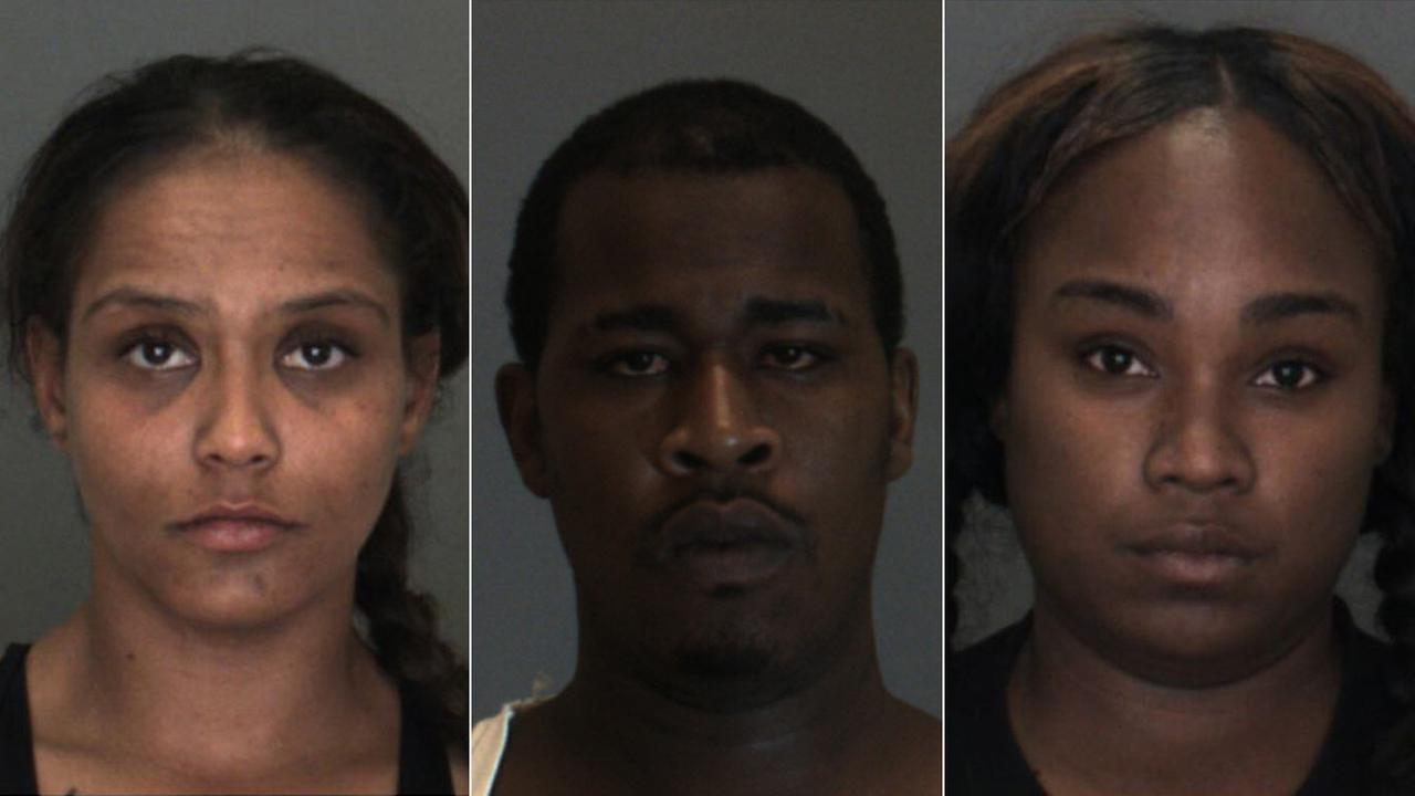 Reyna Mercado (L), Anthony Pitts and Danielle Cummings (R) are seen in booking photos released by the San Bernardino County Sheriffs Department .