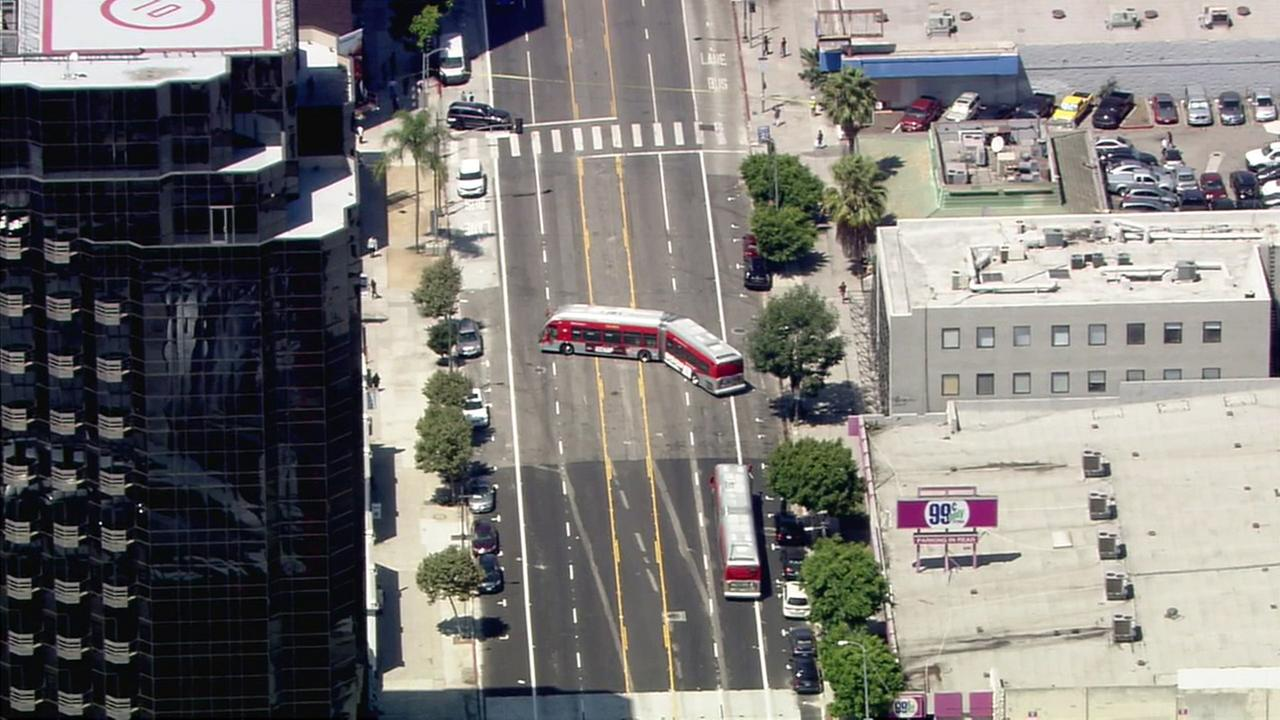 A Metro bus was evacuated near the intersection of Wilshire Boulevard and Crescent Heights Boulevard in Los Angeles after a bomb scare on Friday, Aug. 18, 2017.