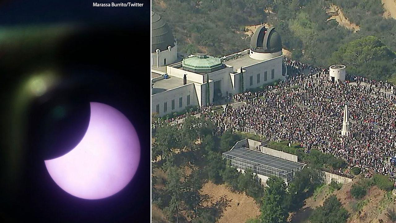 A view of the Great American Eclipse from a telescope on Monday, Aug. 21, 2017, alongside an image of a massive crowd viewing the spectacle at the Griffith Observatory.