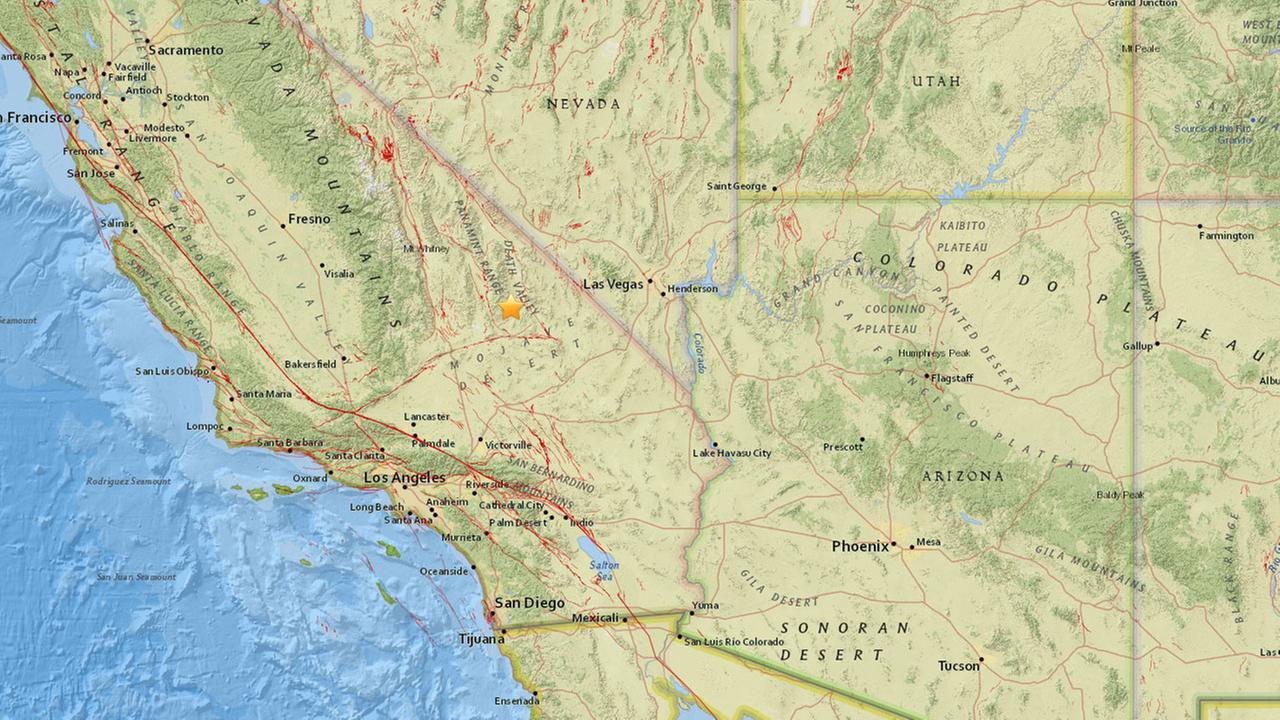 A preliminary magnitude 4.1 earthquake struck 28.5 miles east-northeast of Searles Valley, according to the U.S. Geological Survey.
