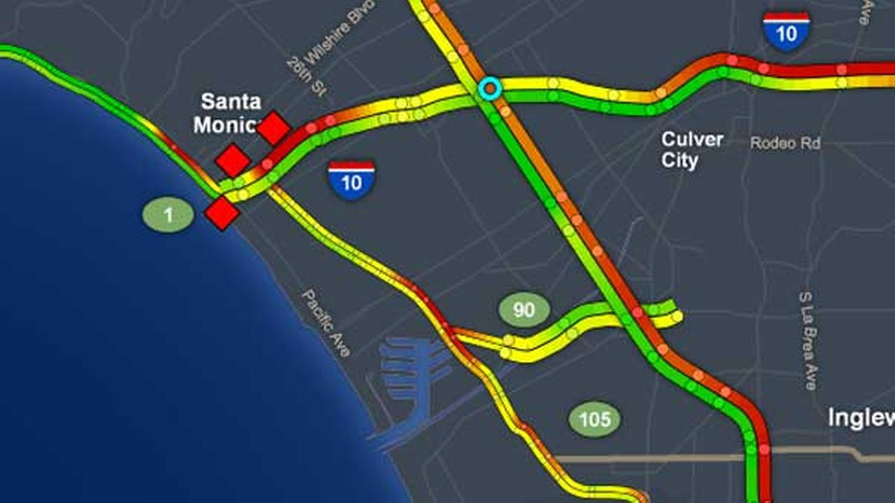 This traffic map shows SigAlerts in the Santa Monica area on Wednesday, Aug. 23, 2017.