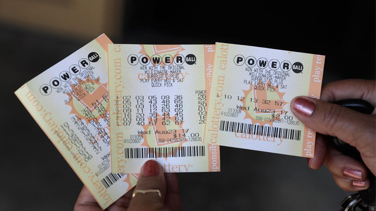 Powerball tickets are shown outside of a a liquor store Wednesday, Aug. 23, 2017, in Fremont, Calif.
