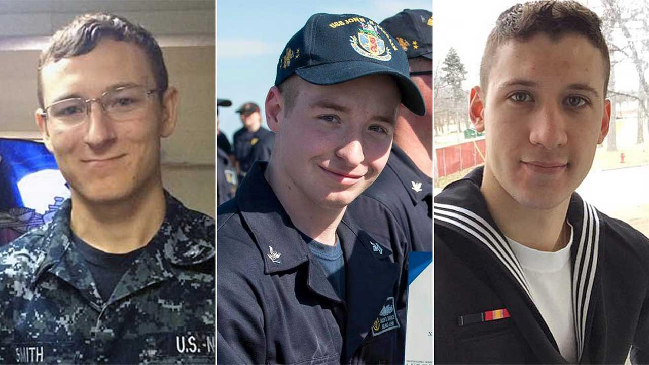 (Left to right) Electronics Technician 3rd Class Kenneth Aaron Smith; Electronics Technician 2nd Class Jacob Daniel Drake; Electronics Technician 3rd Class Dustin Louis Doyon.