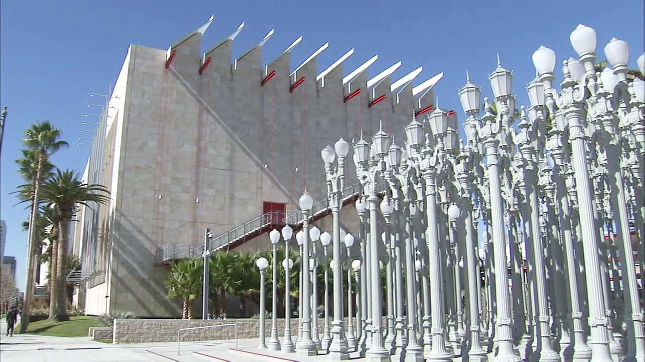 The Urban Light art installation is seen at the entrance of the the Los Angeles County Museum of Art in this undated file photo.