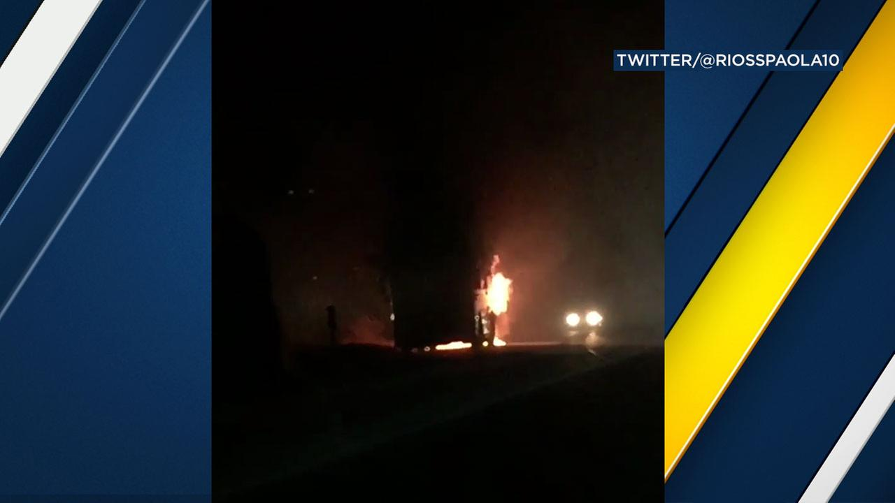 A school bus carrying Golden Valley High Schools volleyball team caught fire Monday as the students were headed home from a game in Palmdale.