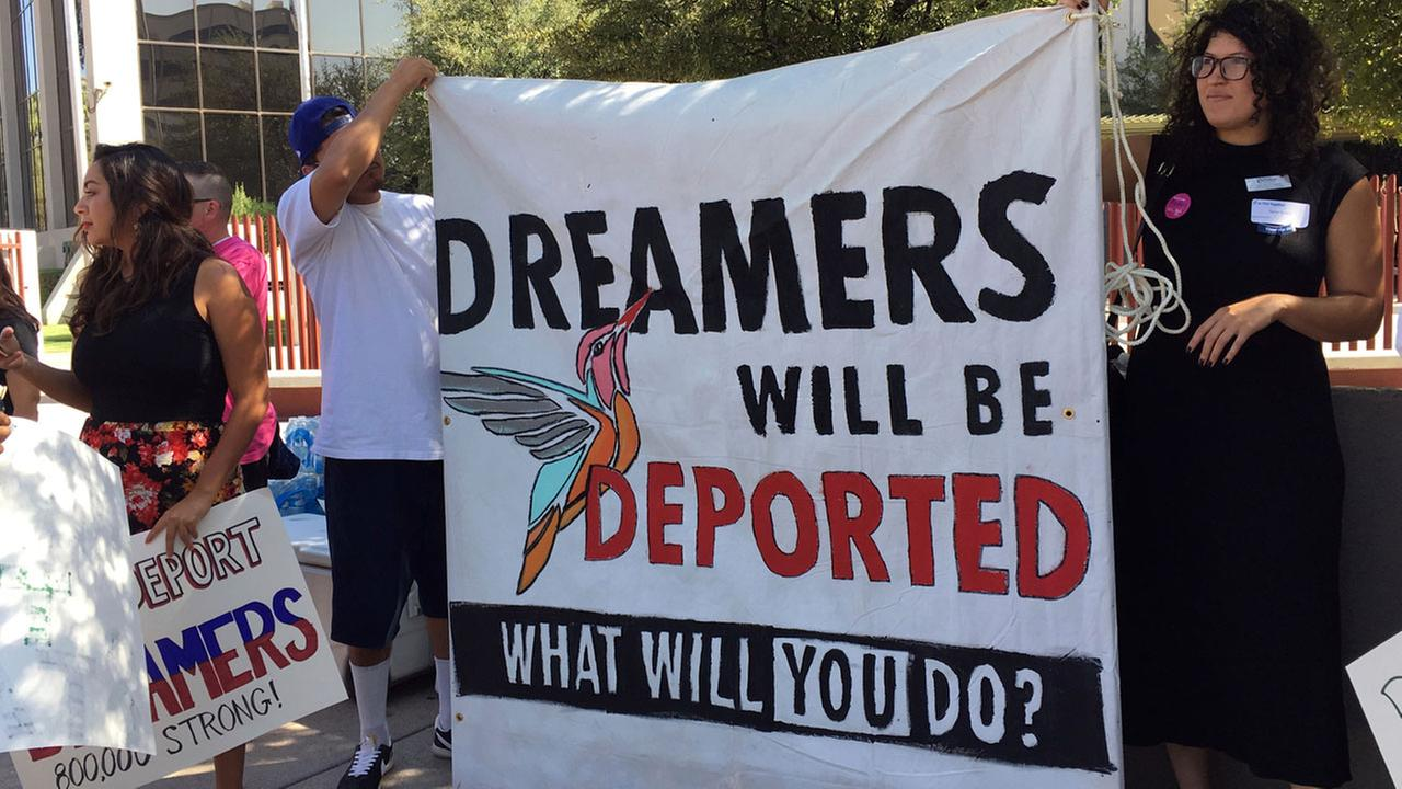 Immigrant rights groups, advocating for DACA, the program that allows youths who were brought to the country illegally as children to legally work and be shielded from deportation.
