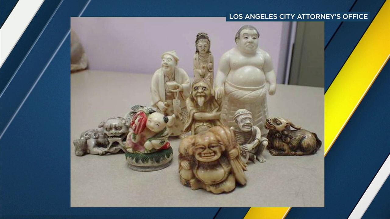 Investigators seized statues made of ivory during undercover investigations in the Los Angeles area this year.