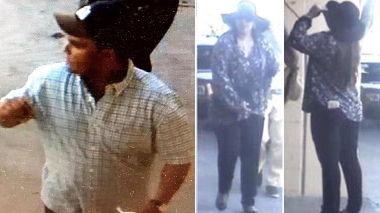 A man and woman suspected of pickpocketing people by offering to clean bird poop off their clothes are shown in photos.