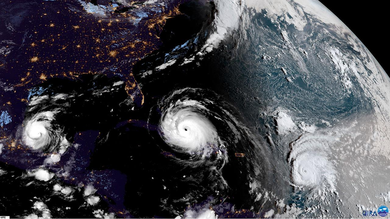 This satellite image shows three powerful hurricanes in the Atlantic-Caribbean region. At left is Hurricane Katia, which has made landfall in Mexico as a Category 1.